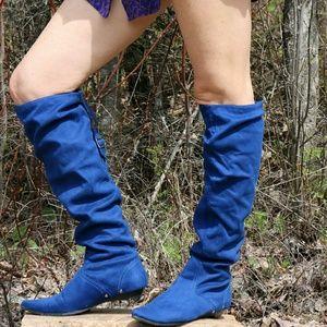 Diba Blue Suede Knee Boots
